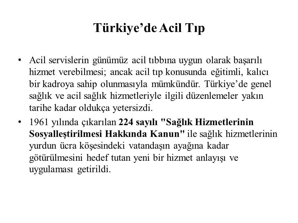 Türkiye'de Acil Tıp Acil servislerin günümüz acil tıbbına uygun olarak başarılı hizmet verebilmesi; ancak acil tıp konusunda eğitimli, kalıcı bir kadroya sahip olunmasıyla mümkündür.