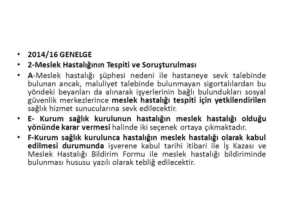 2014/16 GENELGE 2-Meslek Hastalığının Tespiti ve Soruşturulması A-Meslek hastalığı şüphesi nedeni ile hastaneye sevk talebinde bulunan ancak, maluliye