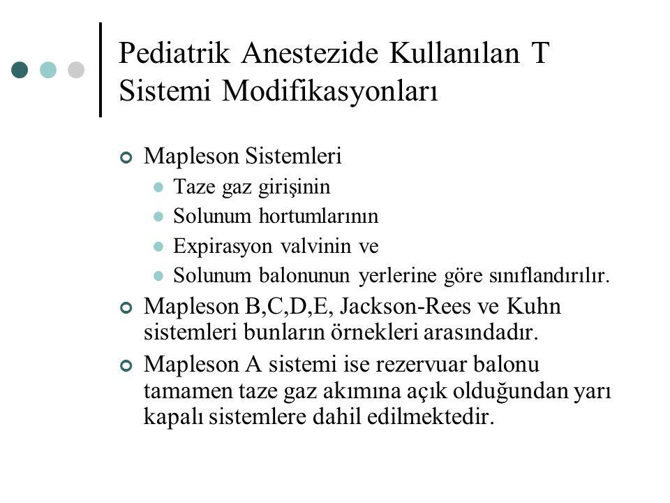 Pediatrik Anestezide Kullanılan T Sistemi Modifikasyonları Mapleson Sistemleri Taze gaz girişinin Solunum hortumlarının Expirasyon valvinin ve Solunum