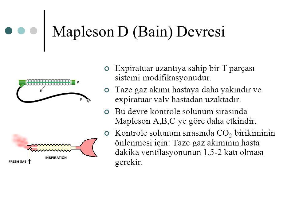 Mapleson D (Bain) Devresi Expiratuar uzantıya sahip bir T parçası sistemi modifikasyonudur. Taze gaz akımı hastaya daha yakındır ve expiratuar valv ha