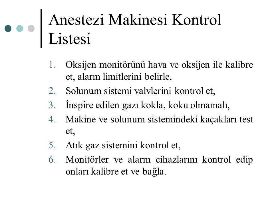Anestezi Makinesi Kontrol Listesi 1.Oksijen monitörünü hava ve oksijen ile kalibre et, alarm limitlerini belirle, 2.Solunum sistemi valvlerini kontrol