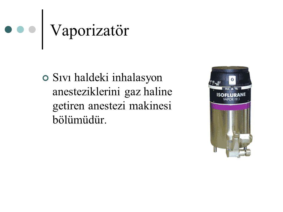 Vaporizatör Sıvı haldeki inhalasyon anesteziklerini gaz haline getiren anestezi makinesi bölümüdür.