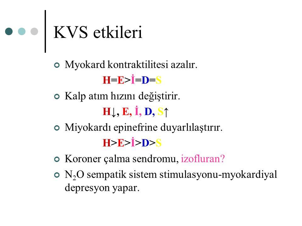 KVS etkileri Myokard kontraktilitesi azalır. H=E>İ=D=S Kalp atım hızını değiştirir. H↓, E, İ, D, S↑ Miyokardı epinefrine duyarlılaştırır. H>E>İ>D>S Ko