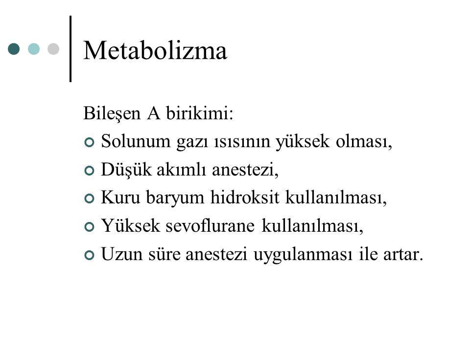 Metabolizma Bileşen A birikimi: Solunum gazı ısısının yüksek olması, Düşük akımlı anestezi, Kuru baryum hidroksit kullanılması, Yüksek sevoflurane kul