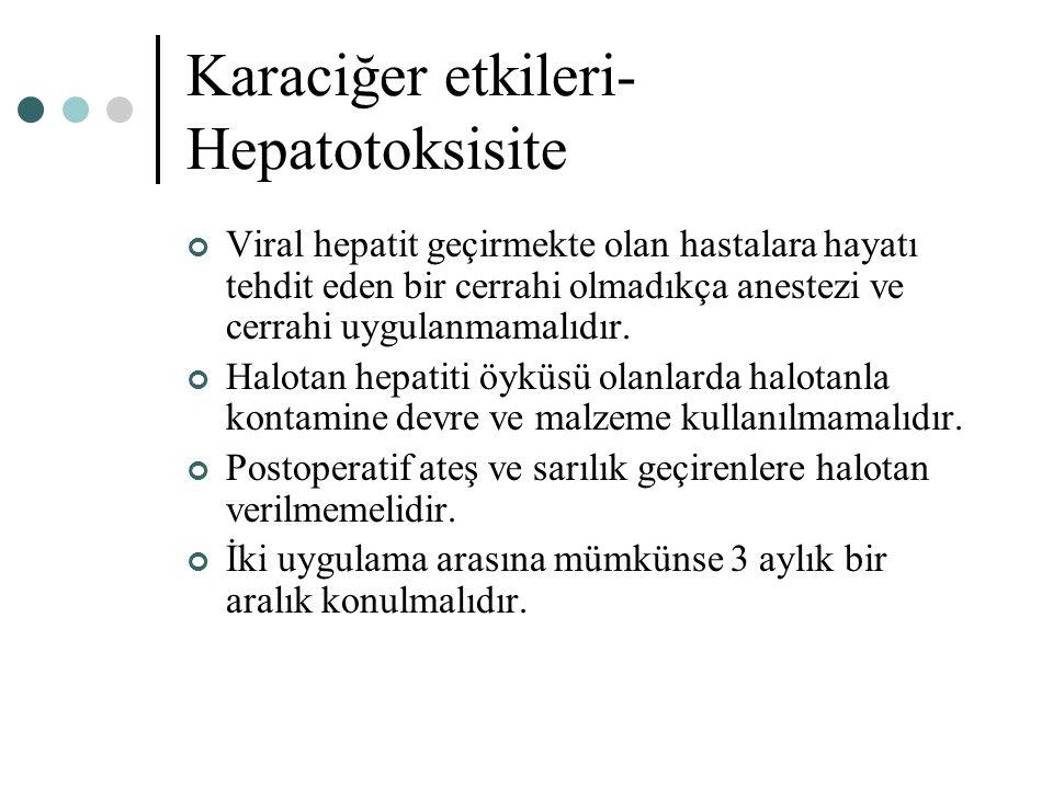 Karaciğer etkileri- Hepatotoksisite Viral hepatit geçirmekte olan hastalara hayatı tehdit eden bir cerrahi olmadıkça anestezi ve cerrahi uygulanmamalı