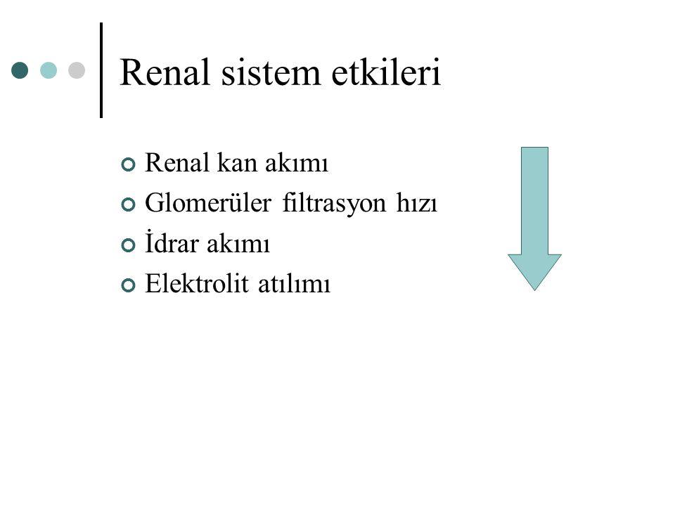 Renal sistem etkileri Renal kan akımı Glomerüler filtrasyon hızı İdrar akımı Elektrolit atılımı