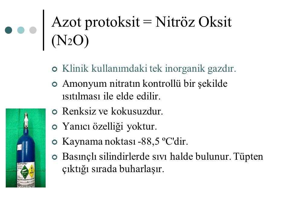 Azot protoksit = Nitröz Oksit (N 2 O) Klinik kullanımdaki tek inorganik gazdır. Amonyum nitratın kontrollü bir şekilde ısıtılması ile elde edilir. Ren