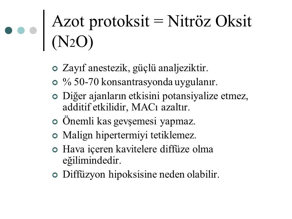 Azot protoksit = Nitröz Oksit (N 2 O) Zayıf anestezik, güçlü analjeziktir. % 50-70 konsantrasyonda uygulanır. Diğer ajanların etkisini potansiyalize e