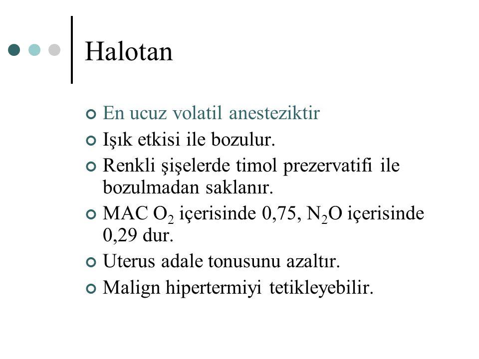 Halotan En ucuz volatil anesteziktir Işık etkisi ile bozulur. Renkli şişelerde timol prezervatifi ile bozulmadan saklanır. MAC O 2 içerisinde 0,75, N