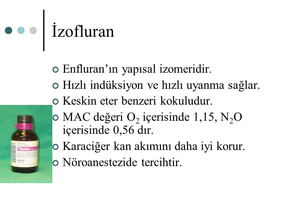 İzofluran Enfluran'ın yapısal izomeridir. Hızlı indüksiyon ve hızlı uyanma sağlar. Keskin eter benzeri kokuludur. MAC değeri O 2 içerisinde 1,15, N 2
