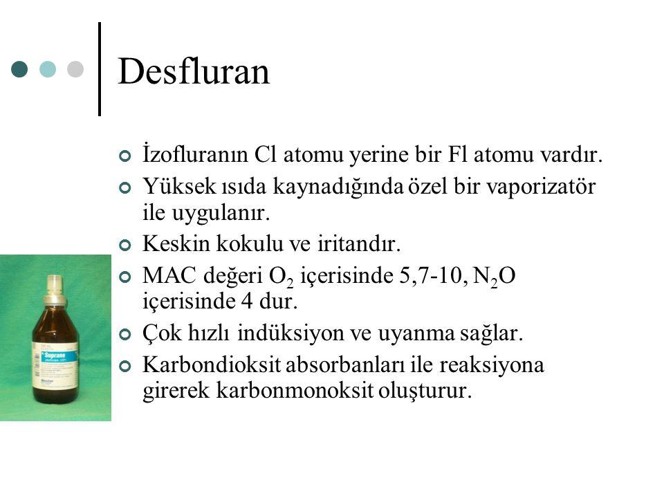 Desfluran İzofluranın Cl atomu yerine bir Fl atomu vardır. Yüksek ısıda kaynadığında özel bir vaporizatör ile uygulanır. Keskin kokulu ve iritandır. M