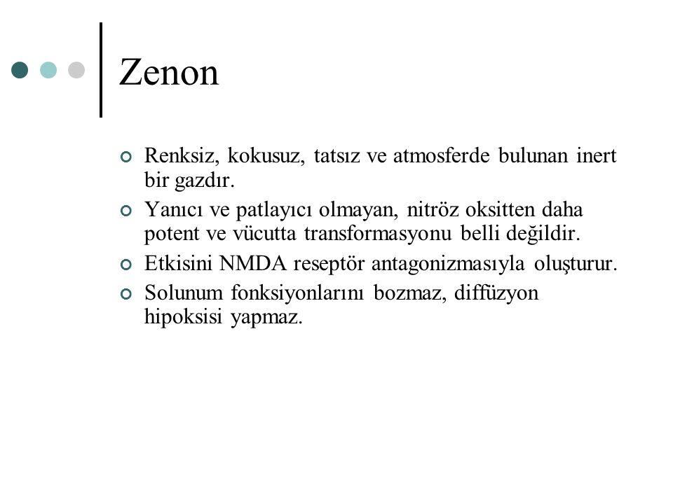 Zenon Renksiz, kokusuz, tatsız ve atmosferde bulunan inert bir gazdır. Yanıcı ve patlayıcı olmayan, nitröz oksitten daha potent ve vücutta transformas