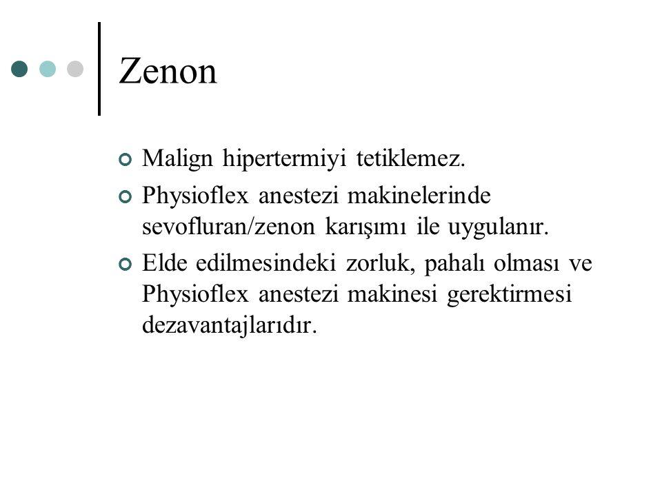 Zenon Malign hipertermiyi tetiklemez. Physioflex anestezi makinelerinde sevofluran/zenon karışımı ile uygulanır. Elde edilmesindeki zorluk, pahalı olm