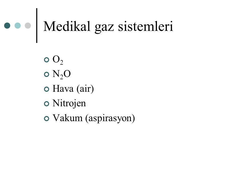 Medikal gaz sistemleri O 2 N 2 O Hava (air) Nitrojen Vakum (aspirasyon)