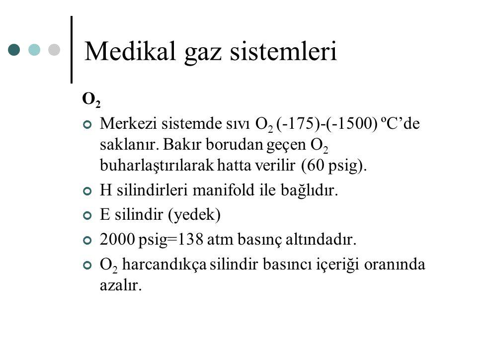 Medikal gaz sistemleri O 2 Merkezi sistemde sıvı O 2 (-175)-(-1500) ºC'de saklanır. Bakır borudan geçen O 2 buharlaştırılarak hatta verilir (60 psig).