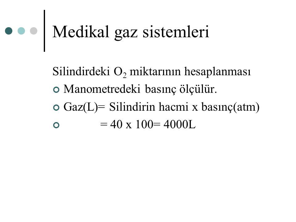 Medikal gaz sistemleri Silindirdeki O 2 miktarının hesaplanması Manometredeki basınç ölçülür. Gaz(L)= Silindirin hacmi x basınç(atm) = 40 x 100= 4000L