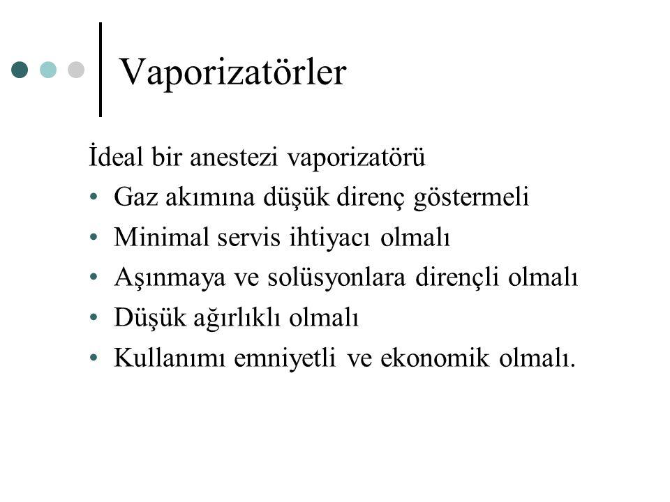 Vaporizatörler İdeal bir anestezi vaporizatörü Gaz akımına düşük direnç göstermeli Minimal servis ihtiyacı olmalı Aşınmaya ve solüsyonlara dirençli ol