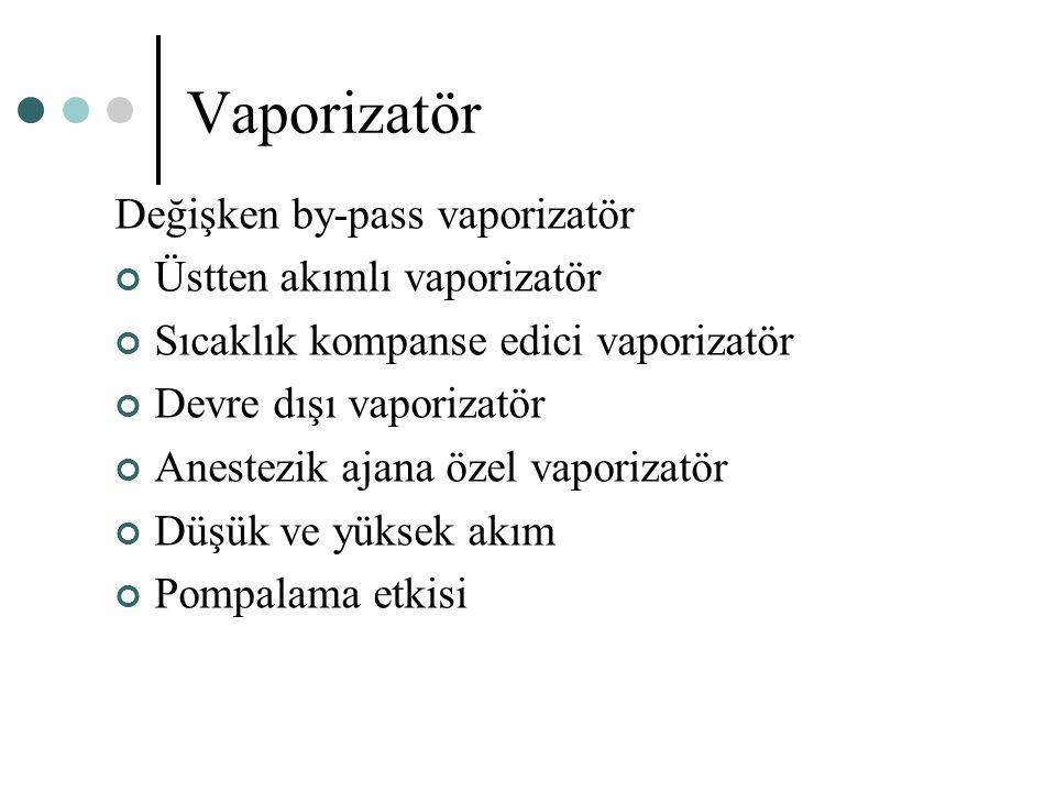 Vaporizatör Değişken by-pass vaporizatör Üstten akımlı vaporizatör Sıcaklık kompanse edici vaporizatör Devre dışı vaporizatör Anestezik ajana özel vap