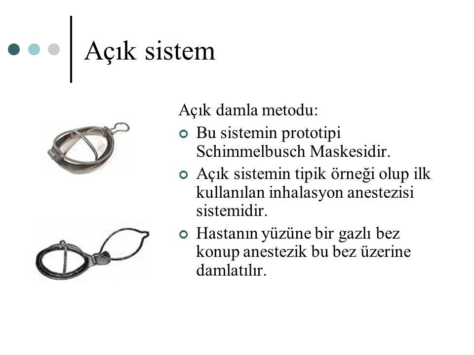 Açık sistem Açık damla metodu: Bu sistemin prototipi Schimmelbusch Maskesidir. Açık sistemin tipik örneği olup ilk kullanılan inhalasyon anestezisi si