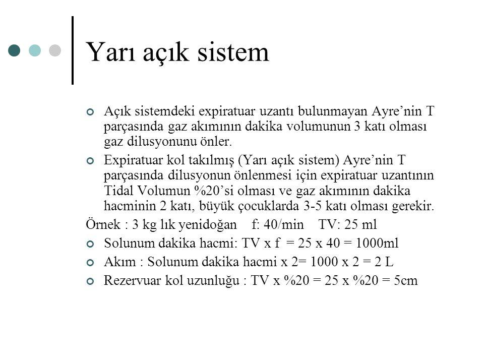 Yarı açık sistem Açık sistemdeki expiratuar uzantı bulunmayan Ayre'nin T parçasında gaz akımının dakika volumunun 3 katı olması gaz dilusyonunu önler.