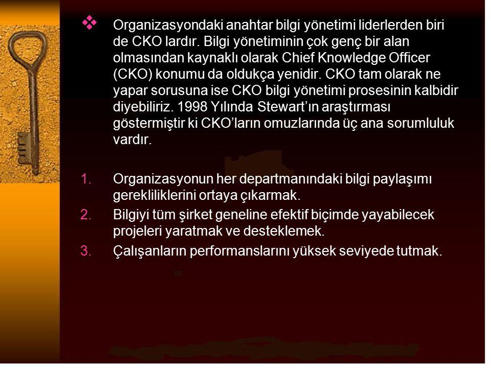  Organizasyondaki anahtar bilgi yönetimi liderlerden biri de CKO lardır. Bilgi yönetiminin çok genç bir alan olmasından kaynaklı olarak Chief Knowled