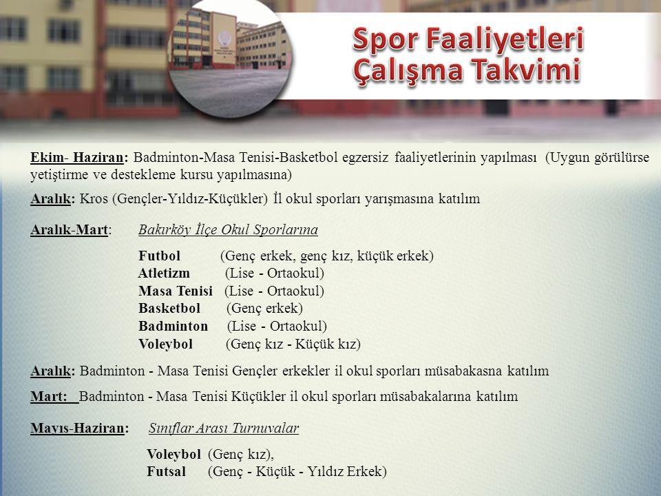 Ekim- Haziran: Badminton-Masa Tenisi-Basketbol egzersiz faaliyetlerinin yapılması (Uygun görülürse yetiştirme ve destekleme kursu yapılmasına) Aralık: Kros (Gençler-Yıldız-Küçükler) İl okul sporları yarışmasına katılım Aralık-Mart: Bakırköy İlçe Okul Sporlarına Aralık: Badminton - Masa Tenisi Gençler erkekler il okul sporları müsabakasna katılım Mart: Badminton - Masa Tenisi Küçükler il okul sporları müsabakalarına katılım Mayıs-Haziran: Sınıflar Arası Turnuvalar Futbol (Genç erkek, genç kız, küçük erkek) Atletizm (Lise - Ortaokul) Masa Tenisi (Lise - Ortaokul) Basketbol (Genç erkek) Badminton (Lise - Ortaokul) Voleybol (Genç kız - Küçük kız) Voleybol (Genç kız), Futsal (Genç - Küçük - Yıldız Erkek)
