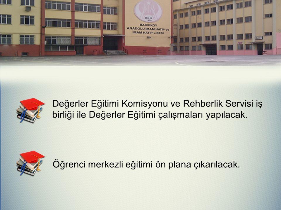 Değerler Eğitimi Komisyonu ve Rehberlik Servisi iş birliği ile Değerler Eğitimi çalışmaları yapılacak.