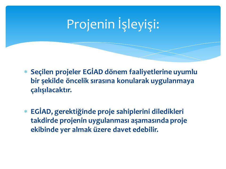  Seçilen projeler EGİAD dönem faaliyetlerine uyumlu bir şekilde öncelik sırasına konularak uygulanmaya çalışılacaktır.