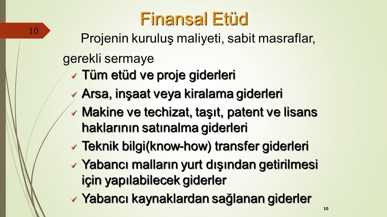 10 Finansal Etüd Tüm etüd ve proje giderleri Tüm etüd ve proje giderleri Arsa, inşaat veya kiralama giderleri Arsa, inşaat veya kiralama giderleri Mak