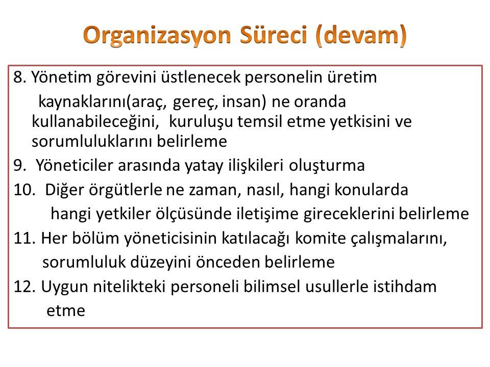 8. Yönetim görevini üstlenecek personelin üretim kaynaklarını(araç, gereç, insan) ne oranda kullanabileceğini, kuruluşu temsil etme yetkisini ve sorum