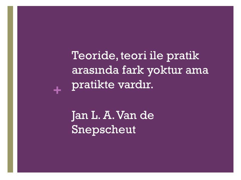 + Teoride, teori ile pratik arasında fark yoktur ama pratikte vardır. Jan L. A. Van de Snepscheut