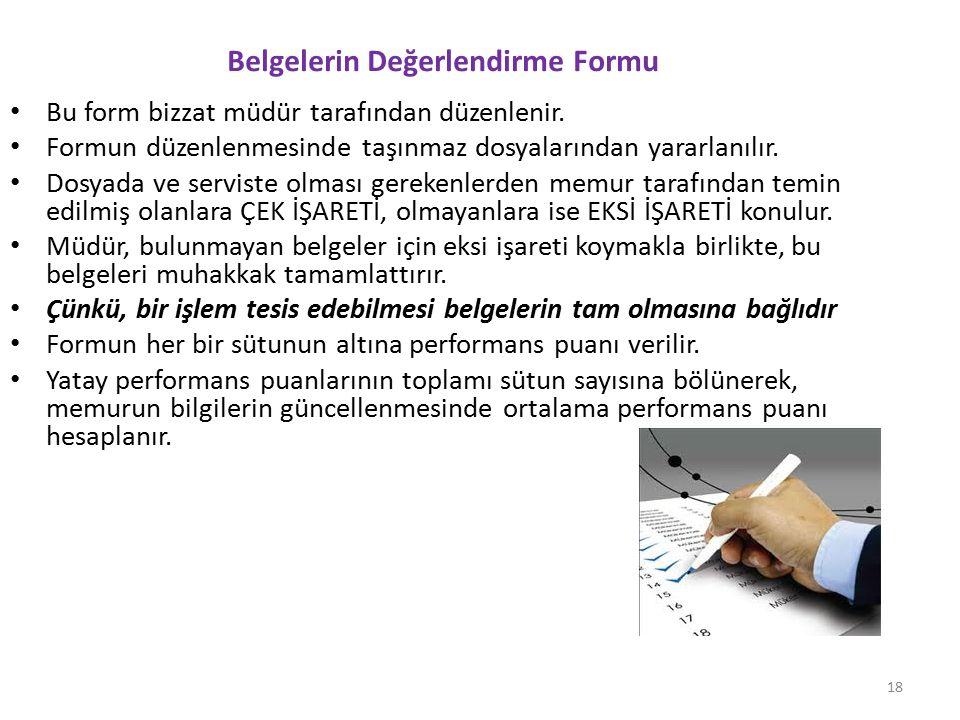 Belgelerin Değerlendirme Formu Bu form bizzat müdür tarafından düzenlenir. Formun düzenlenmesinde taşınmaz dosyalarından yararlanılır. Dosyada ve serv