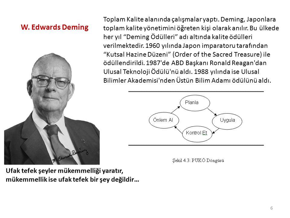 """W. Edwards Deming Toplam Kalite alanında çalışmalar yaptı. Deming, Japonlara toplam kalite yönetimini öğreten kişi olarak anılır. Bu ülkede her yıl """"D"""