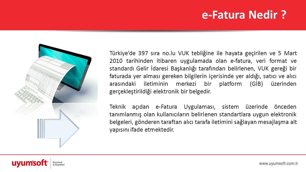e-Fatura Nedir ? Türkiye'de 397 sıra no.lu VUK tebliğine ile hayata geçirilen ve 5 Mart 2010 tarihinden itibaren uygulamada olan e-fatura, veri format