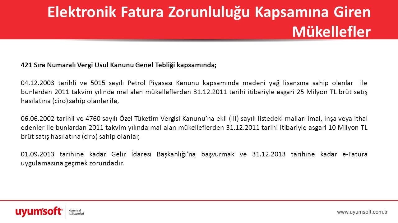 421 Sıra Numaralı Vergi Usul Kanunu Genel Tebliği kapsamında; 04.12.2003 tarihli ve 5015 sayılı Petrol Piyasası Kanunu kapsamında madeni yağ lisansına