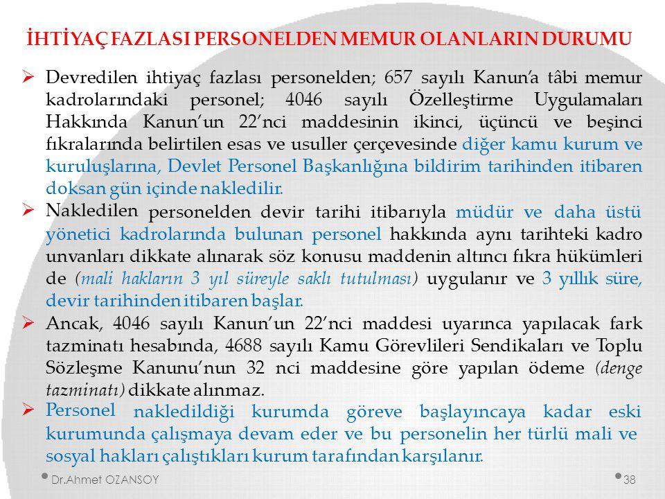 İHTİYAÇ FAZLASI PERSONELDEN MEMUR OLANLARIN DURUMU  Devredilen ihtiyaç fazlası personelden; 657 sayılı Kanun'a tâbi memur kadrolarındaki personel; 40