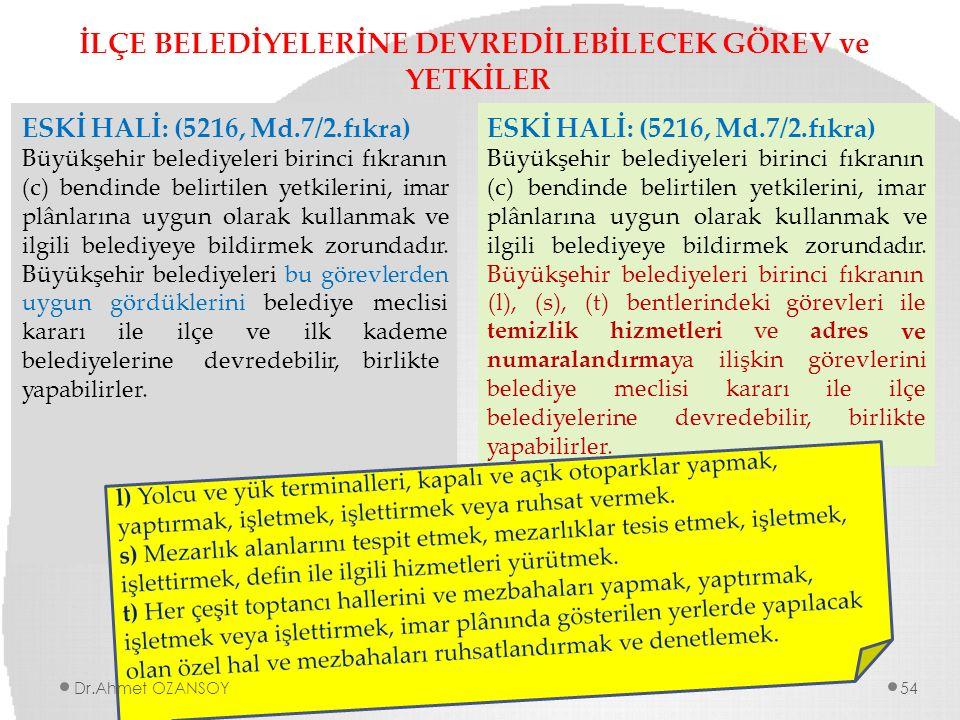 İLÇE BELEDİYELERİNE DEVREDİLEBİLECEK GÖREV ve YETKİLER ESKİ HALİ: (5216, Md.7/2.fıkra) Büyükşehir belediyeleri birinci fıkranın (c) bendinde belirtile