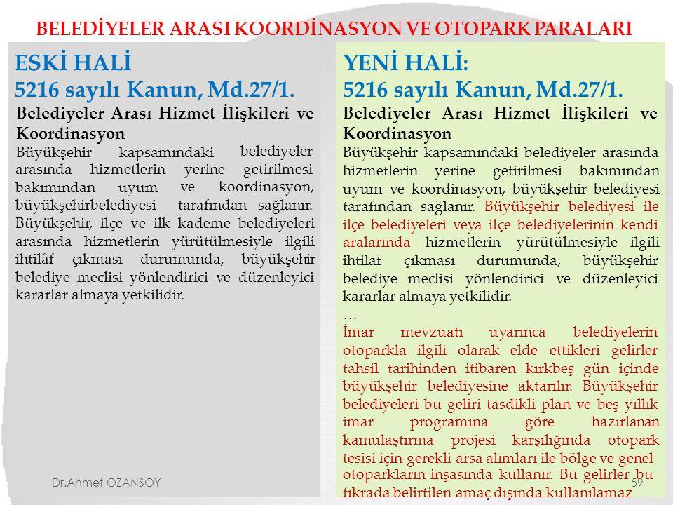 BELEDİYELER ARASI KOORDİNASYON VE OTOPARK PARALARI ESKİ HALİ 5216 sayılı Kanun, Md.27/1. Belediyeler Arası Hizmet İlişkileri ve Koordinasyon Büyükşehi