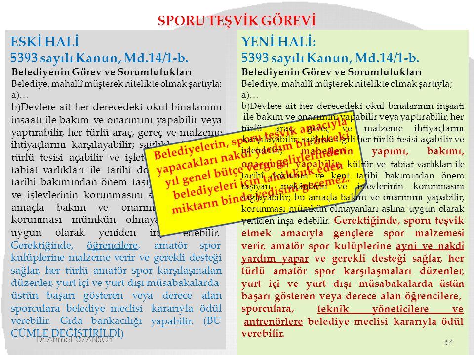 SPORU TEŞVİK GÖREVİ ESKİ HALİ 5393 sayılı Kanun, Md.14/1-b. Belediyenin Görev ve Sorumlulukları Belediye, mahallî müşterek nitelikte olmak şartıyla; a