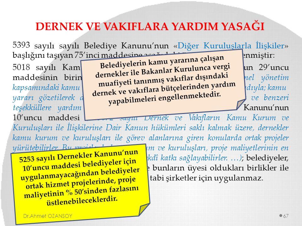 DERNEK VE VAKIFLARA YARDIM YASAĞI 5393 sayılısayılıBelediyeKanunu'nun«DiğerKuruluşlarlaİlişkiler» başlığını taşıyan 75'inci maddesine aşağıdaki üçüncü