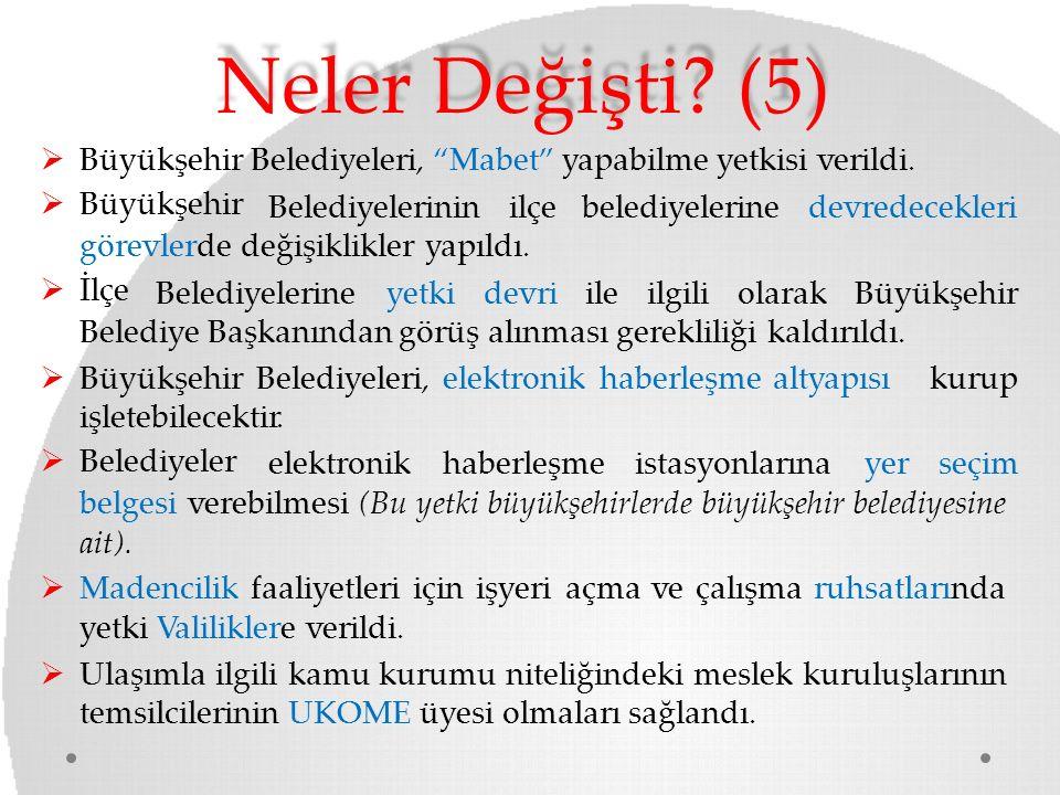 """Neler Değişti? (5)  Büyükşehir Belediyeleri, """"Mabet"""" yapabilme yetkisi verildi.  Büyükşehir Belediyelerininilçebelediyelerinedevredecekleri görevler"""