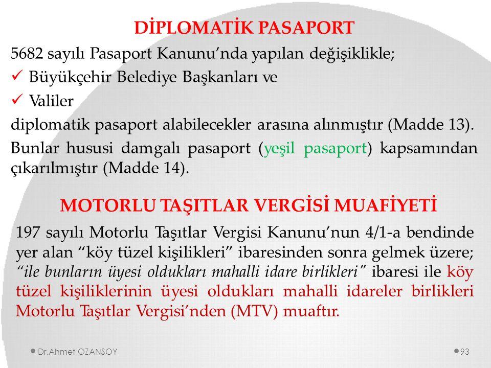 DİPLOMATİK PASAPORT 5682 sayılı Pasaport Kanunu'nda yapılan değişiklikle; Büyükçehir Belediye Başkanları ve Valiler diplomatik pasaport alabilecekler