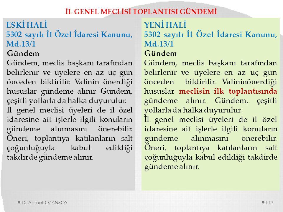 İL GENEL MECLİSİ TOPLANTISI GÜNDEMİ ESKİ HALİ 5302 sayılı İl Özel İdaresi Kanunu, Md.13/1 Gündem Gündem, meclis başkanı tarafından belirlenir ve üyele