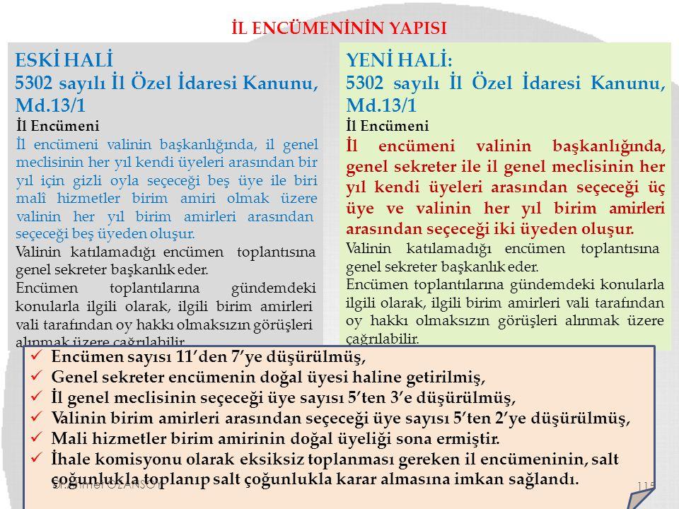 İL ENCÜMENİNİN YAPISI ESKİ HALİ 5302 sayılı İl Özel İdaresi Kanunu, Md.13/1 İl Encümeni İl encümeni valinin başkanlığında, il genel meclisinin her yıl