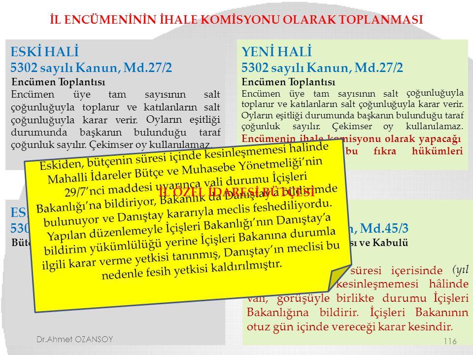 İL ENCÜMENİNİN İHALE KOMİSYONU OLARAK TOPLANMASI ESKİ HALİ 5302 sayılı Kanun, Md.27/2 Encümen Toplantısı Encümenüyetamsayısının katılanların salt çoğu