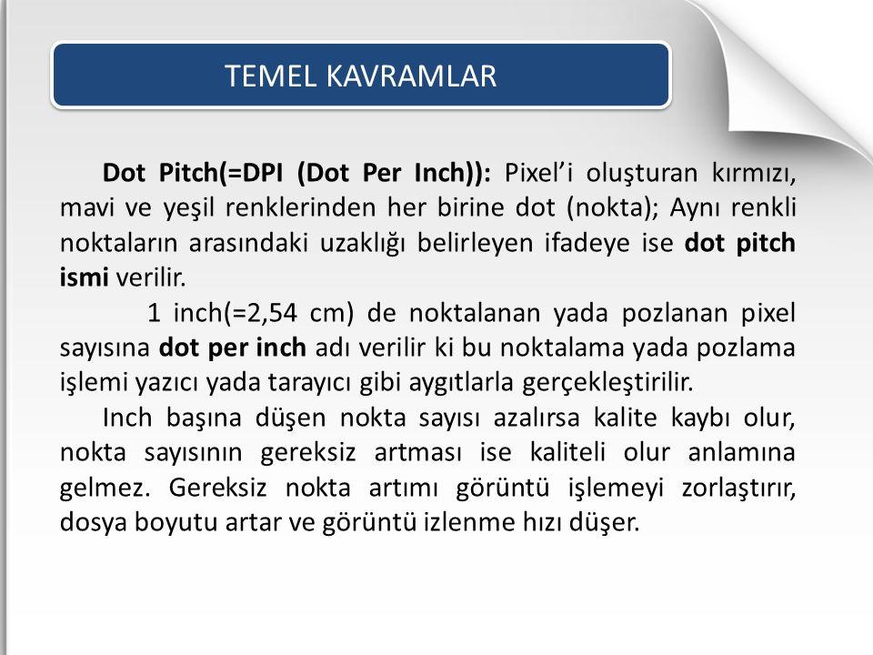 Dot Pitch(=DPI (Dot Per Inch)): Pixel'i oluşturan kırmızı, mavi ve yeşil renklerinden her birine dot (nokta); Aynı renkli noktaların arasındaki uzaklı