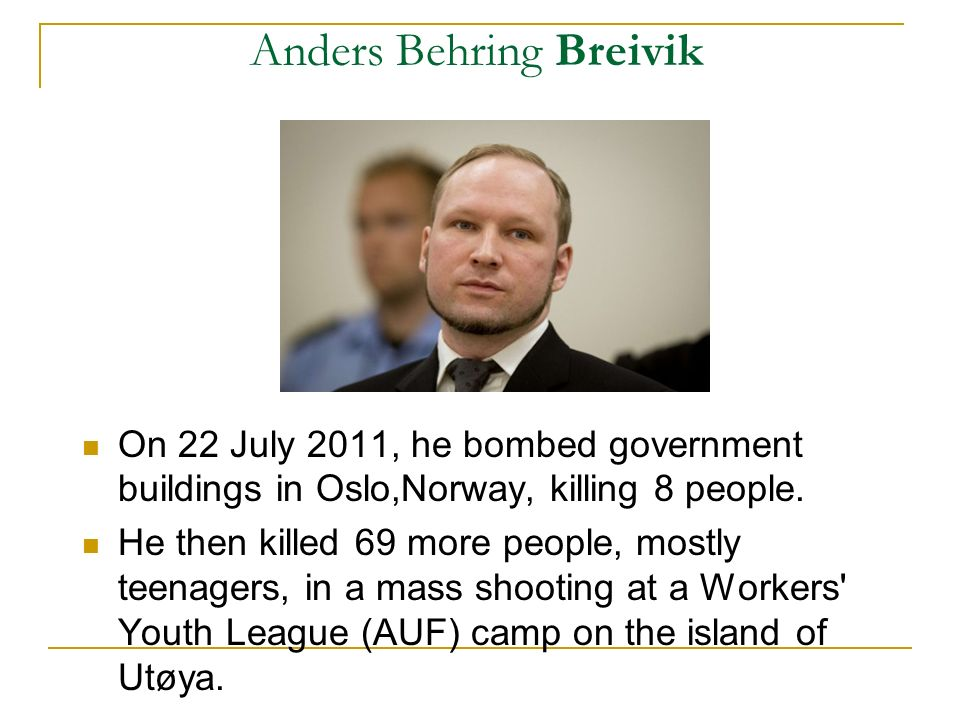 Anders Behring Breivik On the day of the attacks, Breivik electronically distributed a text entitled 2083: A European Declaration of Independence, describing his far-right militant ideology.