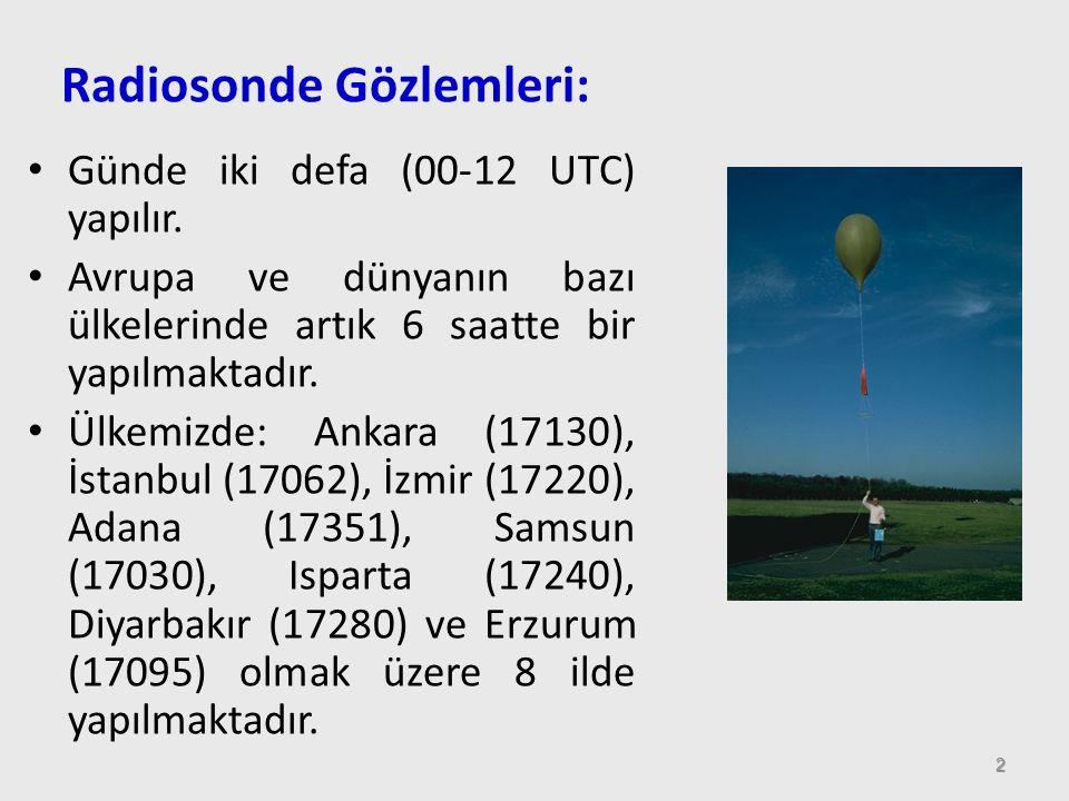 Radiosonde Gözlemleri: 2 Günde iki defa (00-12 UTC) yapılır. Avrupa ve dünyanın bazı ülkelerinde artık 6 saatte bir yapılmaktadır. Ülkemizde: Ankara (