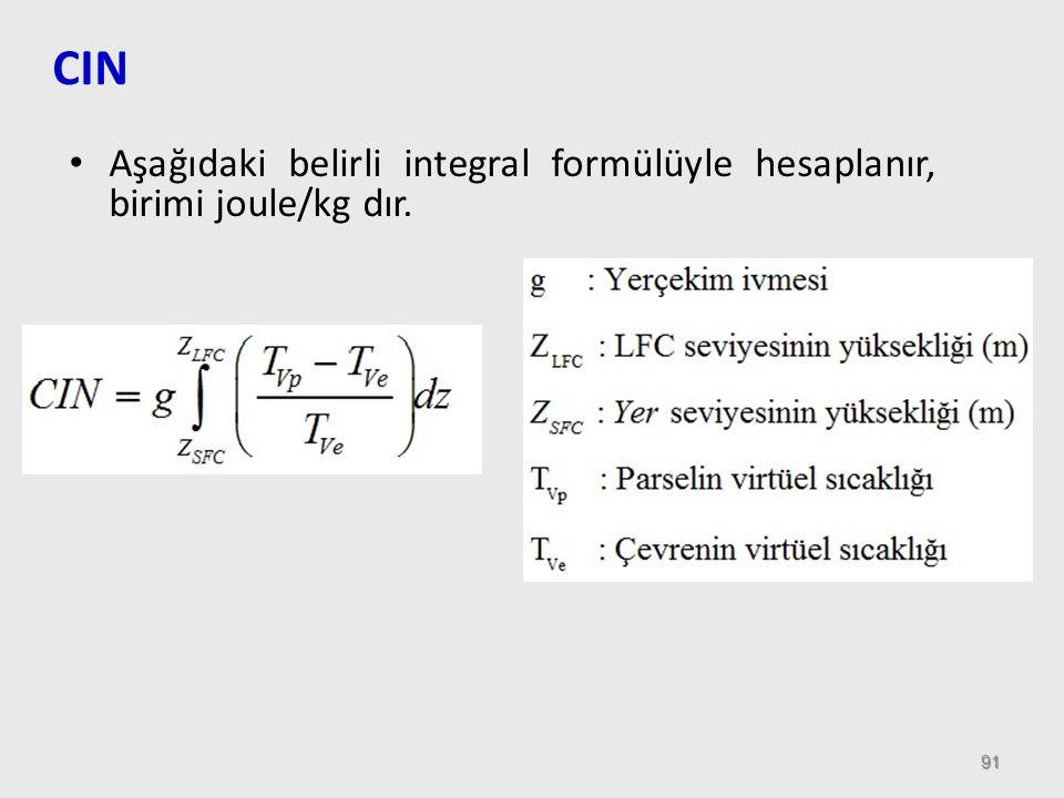 91 CIN Aşağıdaki belirli integral formülüyle hesaplanır, birimi joule/kg dır.