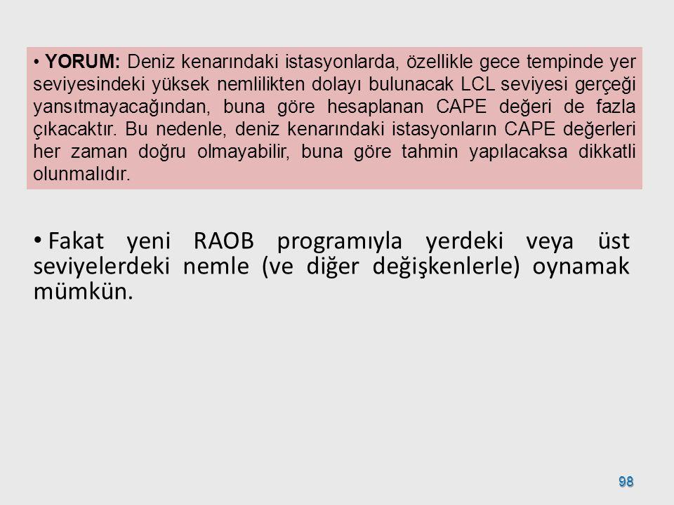 98 YORUM: Deniz kenarındaki istasyonlarda, özellikle gece tempinde yer seviyesindeki yüksek nemlilikten dolayı bulunacak LCL seviyesi gerçeği yansıtma